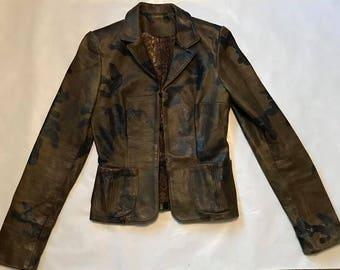 Vintage XSmall Geniune leather Camo Print jacket! Excellent condition!