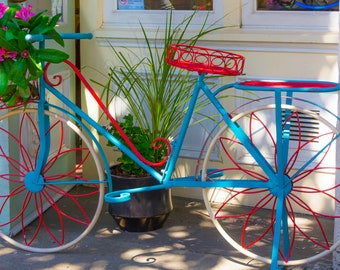 """CANVAS BICYCLE PHOTOGRAPH, 16"""" X 24"""" Canvas Art Wrap, Bicycle Planter, Colorful Bicycle Wall Art, Canvas Interior Wall Decor, Blue Bicycle"""