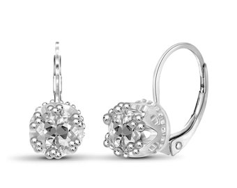 1.25ctw Genuine White Topaz Gemstone Sterling Silver Drop Earrings