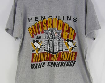 Vintage 90s Pittsburgh Penguins 1991 Stanley Cup Finals Wales Conference T shirt Dead Stock Never Worn