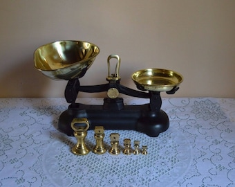 "Vintage English ""Librasco"" scales with brass bell shaped weights/kitchen scales with brass bells"