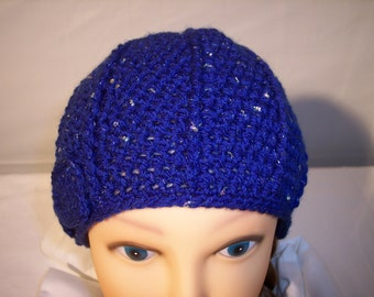 Woman's Hand Crocheted Beanie in Bright Sparkle Blue