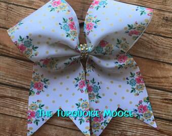 Cheer Bow, Flower Cheer Bow, Polka Dot Cheer Bow, Flower Hair Bow, Cheerleading Bow