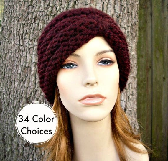 Hand Knit Hat Womens Hat - Turban Hat Red Beanie Red Wine Knit Hat - Claret Hat Red Hat Womens Accessories Winter Hat - 34 Color Choices