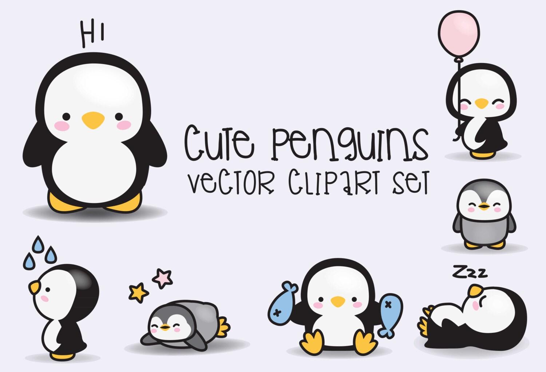 premium vector clipart kawaii penguins cute penguins rh etsy com cute baby penguin clipart Cute Penguin Drawings