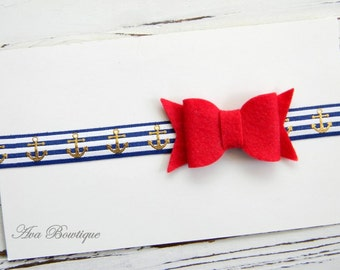 Nautical Headband -Red Felt Bow Headband - Felt Bow Headband - Anchor Headband - Red Bow Headband - Summer Headband
