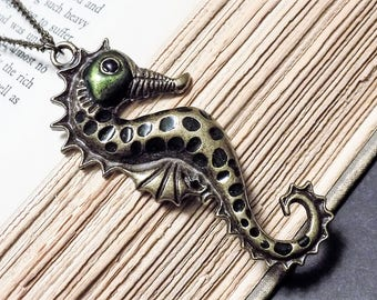 Bronze and Green Seahorse Necklace