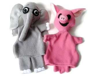 Elephant and Piggie -Hand Puppet Pair - Custom Made Storybook Characters- Gray Elephant Pink Pig