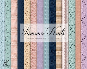 Knit pattern papers - Summer knits - Pastel digital paper - Commercial use patterned paper - pink pastel papers - Instant download - TNCo