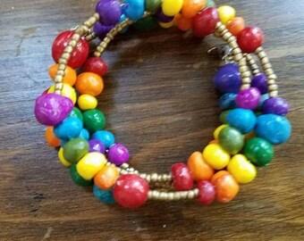 Rainbow Pride coil bracelet or chocker