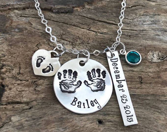 New mom gift | Birthstone name necklace | Sterling Silver footprints charm | New mom necklace personalized | New mommy jewelry | New mother