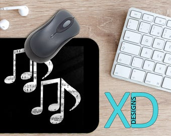 Music Notes Mouse Pad, Music Notes Mousepad, Musical Rectangle Mouse Pad, Black, White, Musical Circle Mouse Pad, Music Notes Mat, Computer