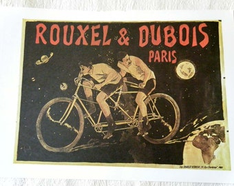 Vintage Bicycle Poster 1894 Rouxel and Dubois Bicycles Tandem Riders in the Sky Poster Size Book Plate