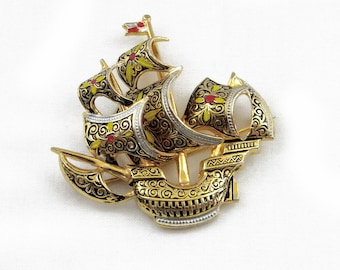 Spanish Galleon Damascene Brooch
