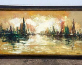Cityscape Oil on Board Painting
