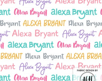Girls Personalized Fabric / Bright Colorful Name Fabric / Quilting Fabric / Custom Name Fabric /Nursery Kids Print by the Yard & Fat Quarter