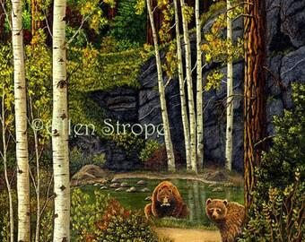 CARD, note card, bears, bear decor, pond, aspen trees, forest, cabin decor, paper goods, Ellen Strope, castteam
