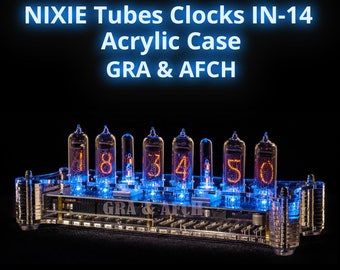 NIXIE Tubes Clocks IN-14 in Acrylic Case; Option: IR Remote, gps and Temperature Sensor