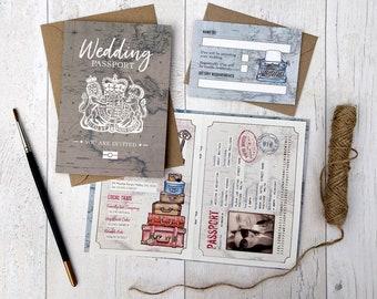 SAMPLE (example- no personalisation) Travel Wedding, Destination Wedding, Travel Invitation, Travel Theme, Vintage Map Invitation, Passport