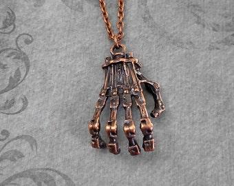 Skeleton Hand Necklace Skeleton Jewelry Skeleton Necklace Gothic Jewelry Fantasy Jewelry Bone Necklace Bones Necklace Charm Copper Necklace