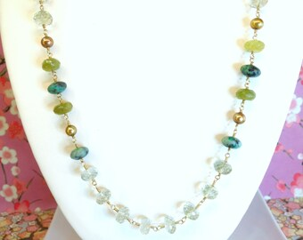 Green Amethyst Tourmaline Rosary Gold Pearl Gold Necklace, Green Amethyst Garnet Boho Statement Necklace, green wedding boho chic necklace