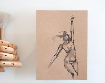 Dancer art drawing, original drawing, art, drawing on paper craft, art, original art, modern female art, spirituality, movement