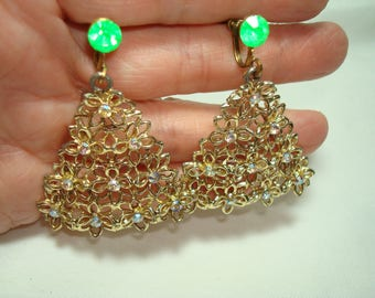 1960s Golden Lacy Christmas Tree Earrings with Aurora Borealis Stones .