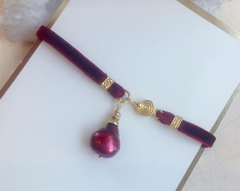 Vintage Red French Velvet Ribbon Pearl Bracelet/ Holiday Jewelry/ Mixed Media Jewelry