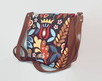 Saddle Bag, Messenger Bag, Shoulder Bag, Floral, folk style, Sandra Bag, Swoon Bag, Gifts for Her, Mothers Day, Gadget Bag, day bag, Folk