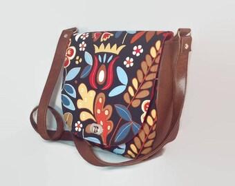 Saddle Bag, Messenger Bag, Shoulder Bag, Floral, scandi style, Sandra Bag, Swoon Bag, Gifts for Her, Mothers Day, Gadget Bag, day bag, Folk