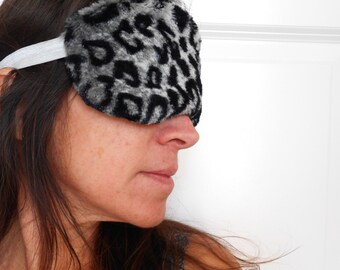 Gray Furry Minky Leopard Sleep Mask