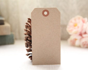 50 LARGE Eco-Friendly Kraft Shipping Tags - 4 3/4 x 2 3/8, Packing Tags, Shipping Tags, Holiday Tags, Favor Tags