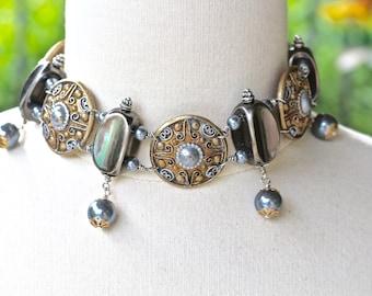 Reclaimed Vintage Choker Necklace, Statement, Hand Wired Bridal Veil, Silver, Medallion, Pearl, Assemblage, Boho, Gray, Jennifer Jones, OOAK