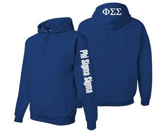Phi Sigma Sigma Hooded Sweatshirt, Phi Sigma Sigma Pullover Hoody, Greek Apparel, Sorority Letters Clothing, Phi Sigma Sigma Sweatshirt