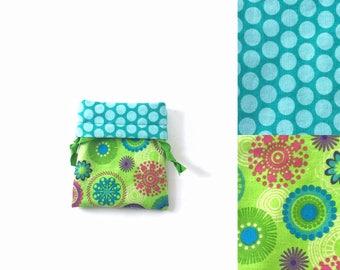 70s flower bag - flower child bag - notions pouch - reversible mini storage bag