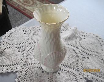 Belleek pink shell vase