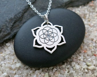 Seed of Life Lotus Necklace, Sterling Silver Seed of Life Lotus Charm, Yoga Jewelry