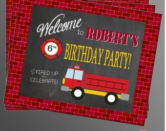 PRINTABLE Fire Truck Welcome Sign (Customizable)