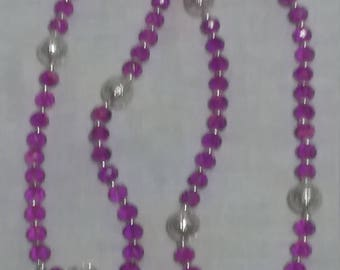Seven Decade Prayer bead/paternoster set.  Purple and silver.
