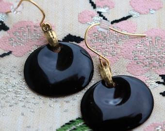 SALE:  Chico's Black Enamel/Disk/Dangle Fish Hook Earrings