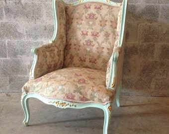 Antique French Louis XVI Chairs *1 Available* Fauteuils Wingback Rococo  Baroque Green Minty Frame