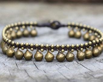 Brass Bell Anklet, Hippie Ankle Bracelet, Women Wedding Ankle Bracelet