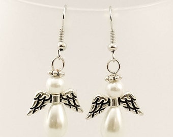 Silver Tone Beaded Pearl Angel Fishhook Pierced Earrings - Angelic Pearl Silver Tone Earrings - Glass Pearl Angel Earrings -Holiday Earrings