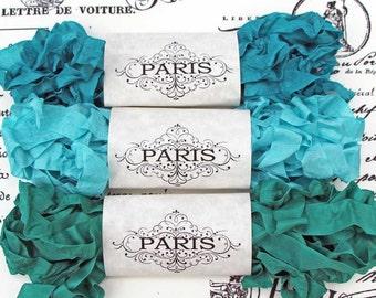 Seam Binding Ribbon, Scrunched, Shabby Crinkled Ribbon, Turquoise, Jade,French Vintage Shabby,Junk Journals, Australia,Mediterranean Jewels