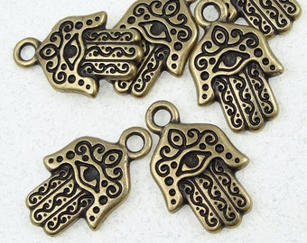 TierraCast Hamsa Hand Charms - Antique Brass Charms - Brass Oxide Bronze Yoga Charms Evil Eye (P881)