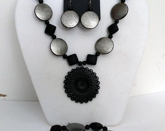 Bold Black Necklace, Earrings and Bracelet