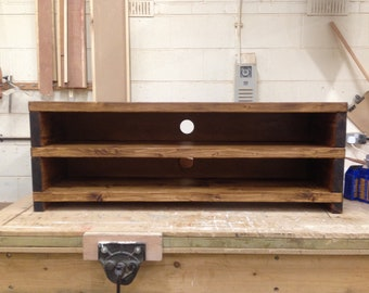 Handcrafted Chunky reclaimed Wooden coffee table tv stand cabinet in walnut wax.