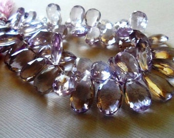 Pink amethyst faceted pear briolette