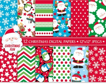 Christmas Digital Papers,Christmas Scrapbook Papers,Santa Paper,Reindeer Papers,Holiday Papers,Christmas Backgrounds,Commercial Use (P5)