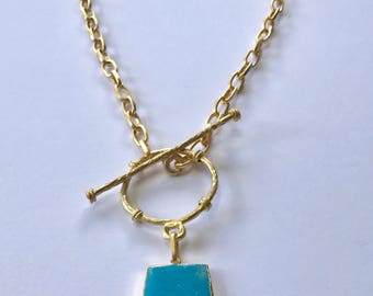 "Turquoise Necklace , Pendant Necklace, Chain Pendant Necklace with Turquoise, Toggle Clasp, 22K Gold Plated, 22"" Long"